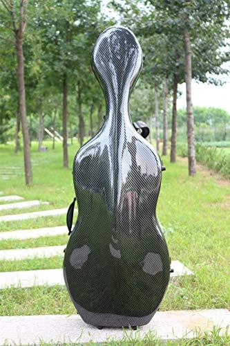 4/4 Cello Koffer aus Kohlefaser, Hartschalenkoffer in voller Größe, robust, leicht, 4,5 kg, belastbar bis 300 kg black-l
