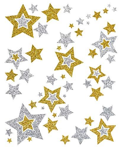 AVERY Zweckform Art. 52952 Fensterbilder Weihnachten Sterne gold/silber (selbstklebende Fenstersticker, Weihnachtsdeko für Fenster, Fensterfolie ablösbar, beglimmert) 1 Bogen mit 6 Fensteraufklebern