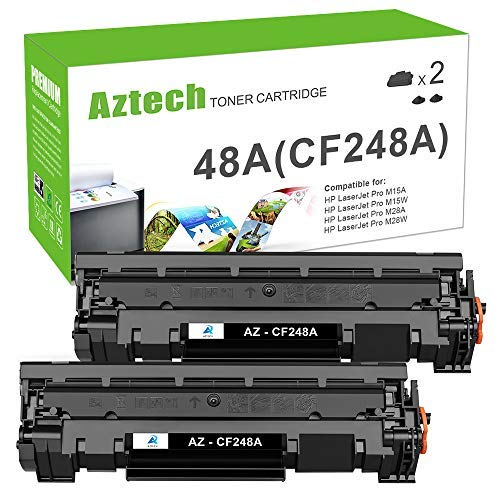 Aztech Compatible Toner Cartridge Replacement for HP 48A CF248A Toner Cartridge HP Laserjet Pro M15w MFP M29w M28w Toner M15a M28a M29a M16w M16a M15 M29 M28 Toner Printer Ink (Black, 2-Pack)