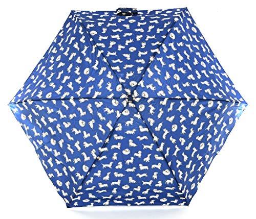 Cath Kidston Dames Miniliet Telescopische Paraplu Mono Honden in Inkt Navy Blauw