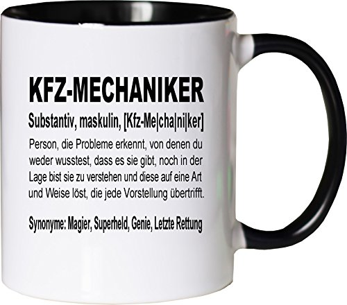 Mister Merchandise Kaffeebecher Tasse Kfz-Mechaniker Definition Geschenk Gag Job Beruf Arbeit Witzig Spruch Teetasse Becher Weiß-Schwarz