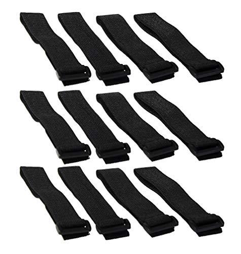 Hook 'n Loop Industrial Strength 1' x 12' Black Nylon Looping Straps (12 Strap Pack)