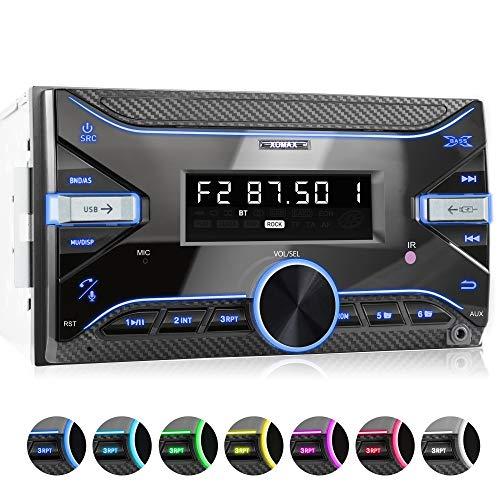 XOMAX XM-2R423 Radio de Coche con Bluetooth I RDS I Am, FM I USB, AUX I 7 Colores de luz Ajustables I 2 DIN