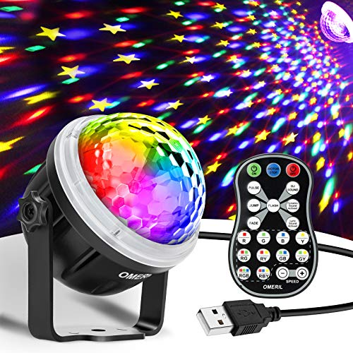 OMERIL Party Lights Disco Ball, USB Powered 11 RGBY Color Disco Lights Sound Activated Strobe Light with Remote Control DJ Lights for Home Room Parties Birthday Bar Karaoke Xmas Wedding Show Club
