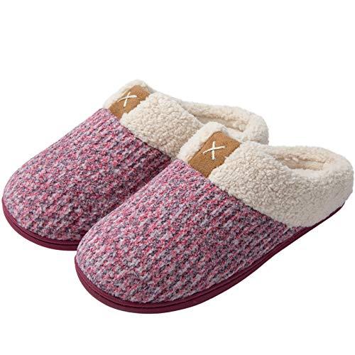 ULTRAIDEAS Hausschuhe Damen Winter Pantoffeln Plüsch Hausschuhe Lammwolle Memory Schaum Slipper für Damen Rutschfeste Sohle Damenpantoffeln Komfort Haussschuh für Innen und Außen,Rosa,36/37 EU