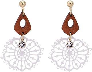Pendientes Dulce temperamento, pendientes largos de mujer, moda exquisita, pendiente de flor de encaje geométrico clásico