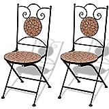 Festnight Sedie da Bistrot Pieghevoli, Sedie da Esterno, Sedia da Giardino in Ceramica Terracotta 2 pz
