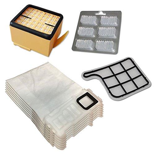 Lot de 6 sacs et sachets (microfibre) 6 rafraichisseurs Filtre HEPA/EPA Filtre Moteur pour aspirateur Vorwerk Folletto Kobold VK 135 136 VK135 VK136
