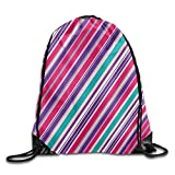 uykjuykj Bolsos De Gimnasio,Mochilas,Vertical Stripe Basic 100% Polyester Drawstring Backpack Spacious Enough Design Training Gymsack 16x14 Inch For Teen Lightweight Unique 17x14 IN