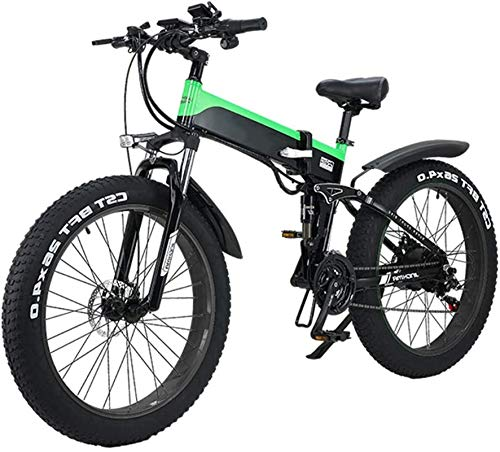 RDJM Bici electrica Folding Mountain Bike Electric City, Pantalla LED conmuta Bicicleta eléctrica de 48V 10Ah Ebike 500W Motor, 120Kg de la Carga máxima, portátil for almacenar Fácil (Color : Green)