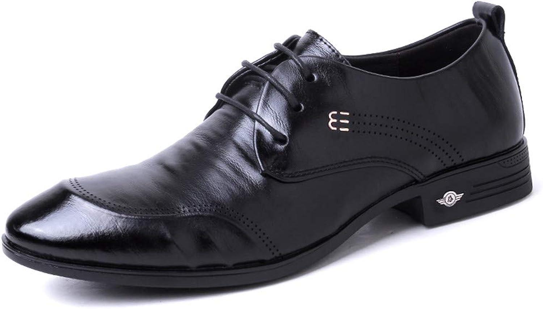 JUJIANFU-shoes Men's Simple Fashion Oxfords Round Toe Flat Heel Lace up Soft Cowhide Solid color shoes