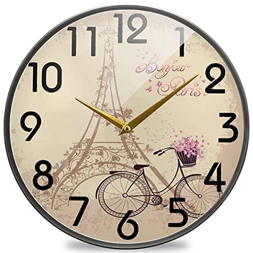 Bonjour Paris Reloj de Pared Redondo Vintage con Torre Eiffel y Bicicleta, silencioso Reloj de Escritorio silencioso de Cuarzo con Pilas para el hogar, la Oficina, la Escuela, la cafetería