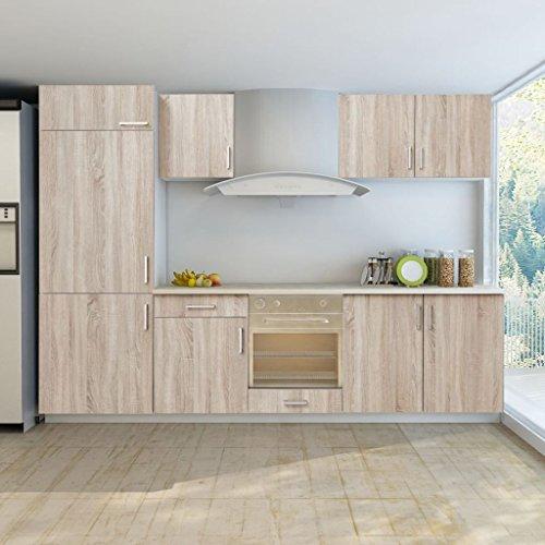 guyifuzhuangs Schränke Küchenschränke Küchenzeile für Einbaukühlschrank 7-TLG. Eiche-Look