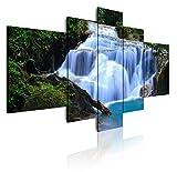 DekoArte 1 - Cuadros Modernos Impresión de Imagen Artística Digitalizada | Lienzo Decorativo para Tu Salón o Dormitorio | Estilo Paisaje Árboles, Catarata y Naturaleza | 5 Piezas 180x85cm XXL