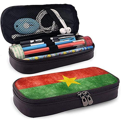 Burkina Faso Flag Estuche de cuero de alta capacidad Estuche de lápices Estuche de papelería Organizador de caja Organizador Bolígrafo Bolso cosmético portátil