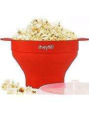 iheyfill Popcorn popper, magnetron-silicone popcorn maker, opvouwbare kom met handgrepen