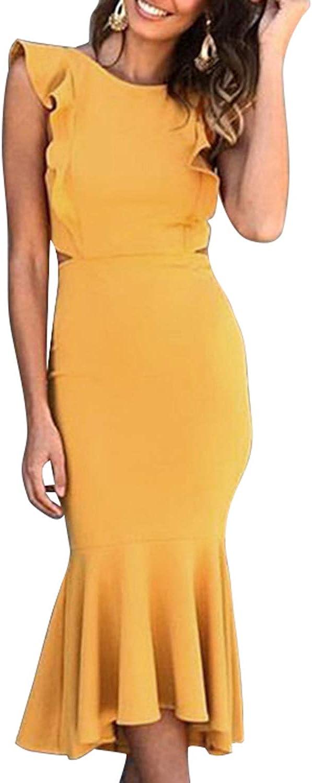 QINSEN Womens Sexy Ruffle Sleevess Open Back Fishtail Bodycon Cocktail Midi Dress