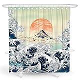 BARGHE Japanischer Duschvorhang Anime Duschvorhang Mountain Shower Curtain Wave Duschvorhang Mountain Sunset Shower Curtain Cool Shower Curtain Polyester Waterproof Shower Curtain 183 x 213 cm