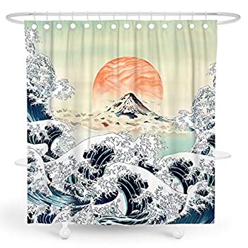 DESIHOM Japanese Shower Curtain Anime 72x72 Inch Mens Cool Shower Curtain Painting Asian Shower Curtain Sunset Mountain Wave Shower Curtain Chinese Art Polyester Waterproof Shower Curtain
