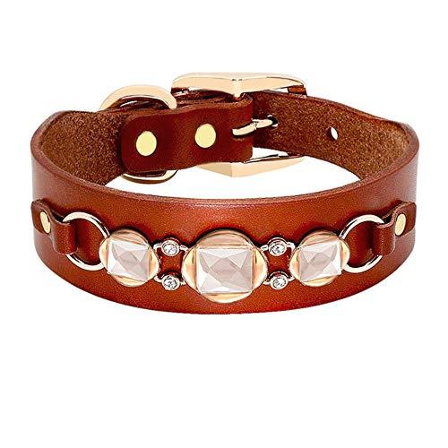 QIANNI Dog Collar Fashion Leather Dog Collar French Bulldog Rhinestone Pet Collar Perro for Small Medium Dogs Metal Accessories Pet Collars