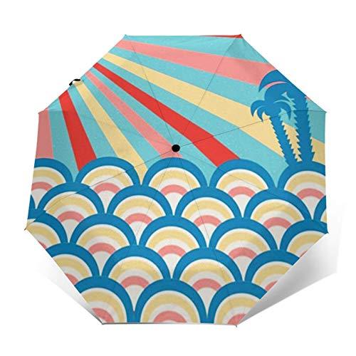 Paraguas Plegable Automático Impermeable Palmeras de Verano en la Playa, Paraguas De Viaje Compacto a Prueba De Viento, Folding Umbrella, Dosel Reforzado, Mango Ergonómico