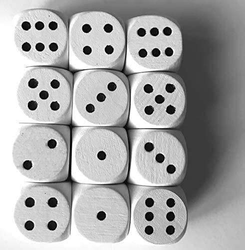 Spieltz Dados de madera estándar para juegos de mesa, 16 mm, fabricados en Alemania (12 dados, color blanco con ojos negros)