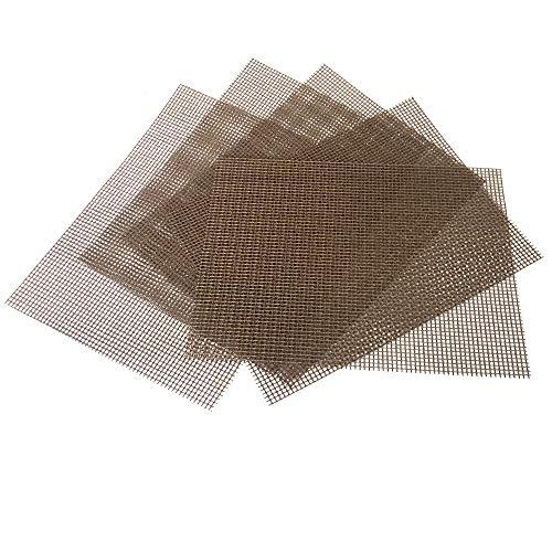 OSVINO 5 Stücke Grillmatte Backmatte BBQ Glasfaser PTFE rutschfest mit Gitter hitzbestänidg für Elektrogrill Gasgrill 40 x 30cm, Beige 40 x 30cm