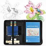 Wuudi Juego de lápices de acuarela profesional, dibujo de lápices de colores con herramientas de accesorios en estuche de lona con cremallera para artistas adultos y niños, 74 piezas