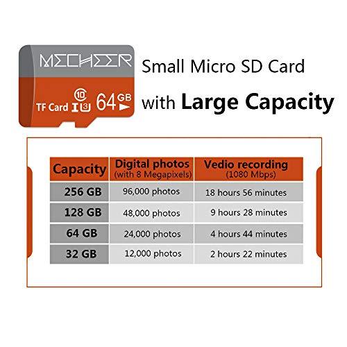 Micro SD Card 64GB, MECHEER Memory Card Micro SDXC Card Mini TF Card Class 10 UHS-3 Flash Memory Card High Speed 85MB/s C10, U3, Full HD, 64GB microSD