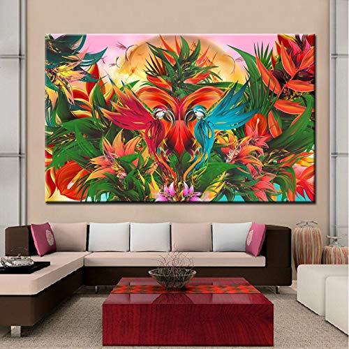 wZUN Flores y pájaros de Estilo Tradicional Chino en Lienzo Pinturas sobre Lienzo Arte Pared Cuadros decoración Regalo Lienzo 70x50 cm