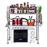LAOSUNJIA 304 Acero Inoxidable Microondas Horno Estante Cocina De múltiples Capas Encimera de Almacenamiento Platillo Olla arrocera (Color : Silver, Size : 69 * 53 * 37cm)