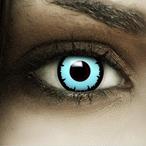 Farbige Kontaktlinsen ohne Stärke Blue Angel + Kunstblut Kapseln + Kontaktlinsenbehälter, weich ohne Sehstaerke in blau, 1 Paar Linsen (2 Stück)
