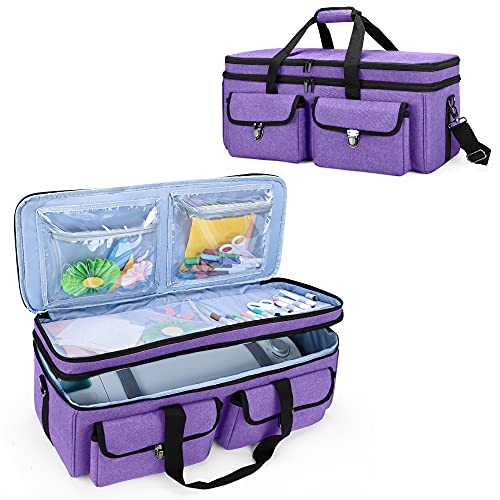 YARWO Double-Layer Carrying Bag Compatible with Cricut Maker, Cricut Explore Air (Air 2), Silhouette Cameo 4, Travel Storage Case for Die-Cut Machine and Craft Accessories, Purple