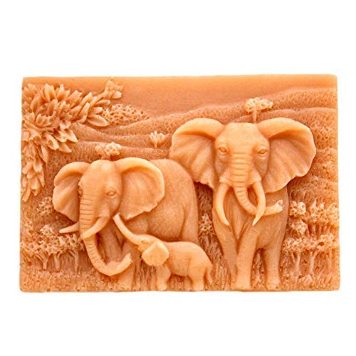Silicone Molds Elephants, Craft Art Silicone Soap Mold Craft Molds, African Elephant Pattern Square Shape DIY Craft Handmade soap Mould - Best Handmade Gifts - Soap Making Supplies by YSCENL