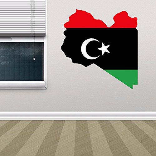 DIYthinker Libysche Flaggen-Karte von Libyen Wand Vinylaufkleber Custom Home Dekoration Wand-Aufkleber Hochzeits-Dekoration PVC-Tapeten Mode-Design