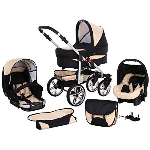 Cochecito de bebe 3 en 1 2 en 1 Trio Isofix silla de paseo X-Car by SaintBaby negro & crema 3in1 con Silla de coche