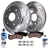 Saab 9-4X Performance Brake Kits - Detroit Axle - Front Drilled & Slotted Disc Brake Kit Rotors w/Ceramic Pads w/Hardware & Brake Kit Cleaner & Fluid for 2010-2016 Cadillac SRX - [2011 Saab 9-4X]