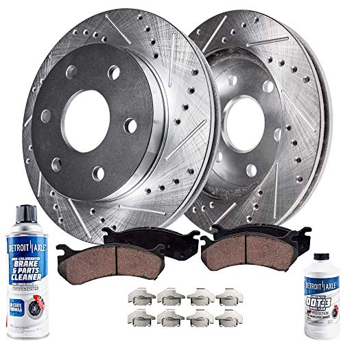 Detroit Axle - Drilled & Slotted Front Brake Kit Rotors Set & Brake Kit Pads w/Clips Hardware Kit & Brake Kit CLEANER & FLUID INCLUDED for 4WD Cadillac Escalade Chevy GMC K1500 K2500 Pickup