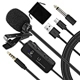 Lavalier Microphone, Portable Noise Cancelling Wired Lapel Lavalier Mic with 3.5mm and 6.5mm Jack...
