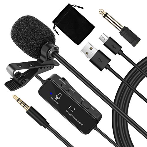 Lavalier Microphone, Portable Noise Cancelling Wired Lapel Lavalier Mic with 3.5mm and 6.5mm Jack Compatible with Camera, Phone, Computer for Recording Youtube Interview Broadcast