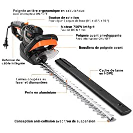 【Sélection Printemps】TACKLIFE Taille-Haies Électrique 750W, Lame 61cm & Capacité de Coupe 24mm, Coupe à Double Action, Poignée rotative & Anti-Vibration, Blocage Sécurisé Rapide – GHT7A