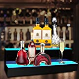 KERTY LED Lighted Liquor Bottle Display Shelf 20 Inch 2 Step Acrylic Lighted Mounted Wine Racks for Commercial Home Bar, Illuminated Bar Bottle Lighting Shelves with Remote and App Control