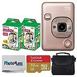 Fujifilm Instax Mini LiPlay Hybrid Instant Camera (Blush Gold) + Fujifilm Instax Instant Film (40 Shots) + 32GB mciroSDHC Memory Card + Camera/Video Case + Photo4Less Cleaning Cloth – Deluxe Bundle