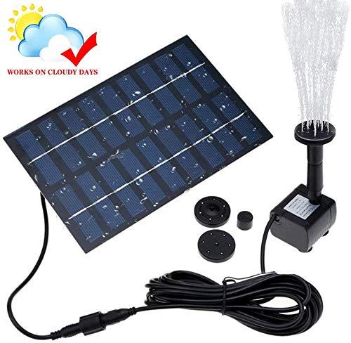 REUUY Bomba de fuente solar, 1,4 W, bomba de agua solar, batería integrada, con 4 boquillas, para baño de pájaros, pecera, estanque o decoración de jardín