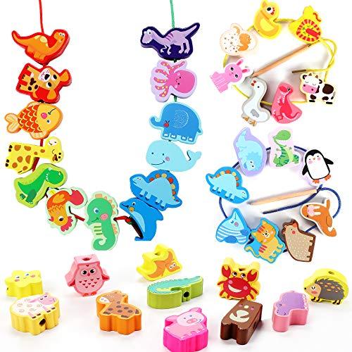 Tacobear 40 Piezas Cuentas de Madera Juguete de enhebrar Cuentas Animales de Madera Habilidades Motoras Finas Montessori Juguetes Educativos Juguete Cumpleaños Regalo para Bebés Niños 2 3 4 5 6 años