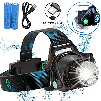 Rechargeable Headlamp, Hard Hat Light - Adults LED Headlamp Flashlight, Perfect Headlamps for Camping, Head Lamps for Adults, Head Flashlight, Lamparas Recargables.