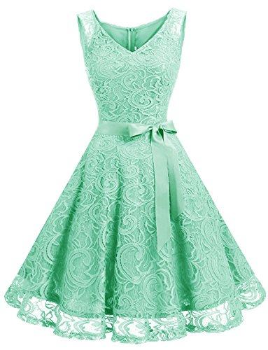 Dressystar DS0010 Brautjungfernkleid Ohne Arm Kleid Aus Spitzen Spitzenkleid Knielang Festliches Cocktailkleid Mintgrün S