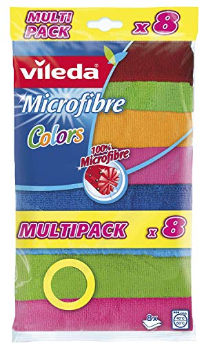 Vileda Microfibre Colors, Panni in Microfibra, Lavabili in...