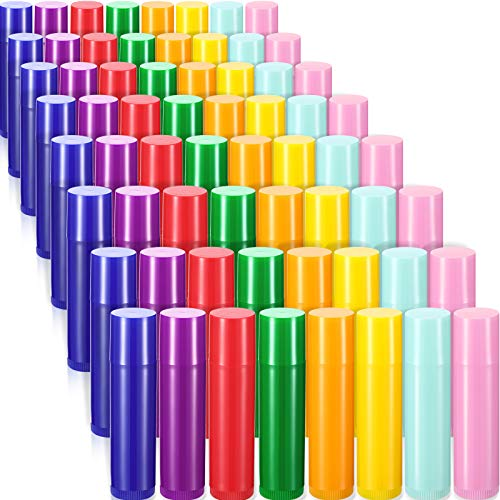 64 Pieces 5ml Empty Lip Gloss Tubes Containers Refillable Lip Balm Bottles Rotatable Lip Balm Container Plastic Empty Lipstick Tubes DIY Lip Gloss Balm Tube Container Holder for DIY Cosmetic, 8 Colors