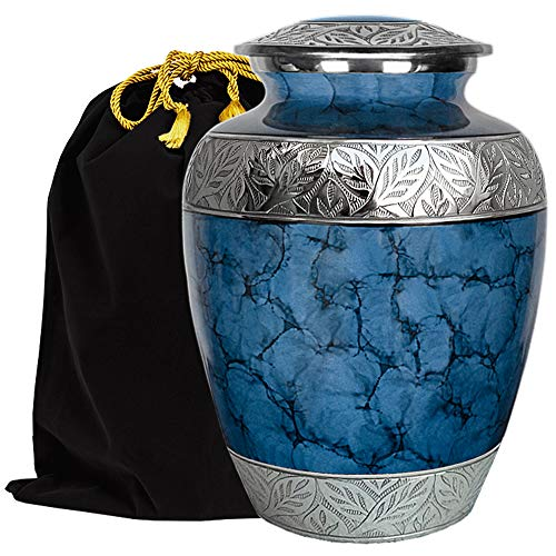 Majestic Extra Large Dark Blue Urn For Human Ashes For Human Up To 300 Pounds - A Warm and Loving Urn - w Velvet Bag
